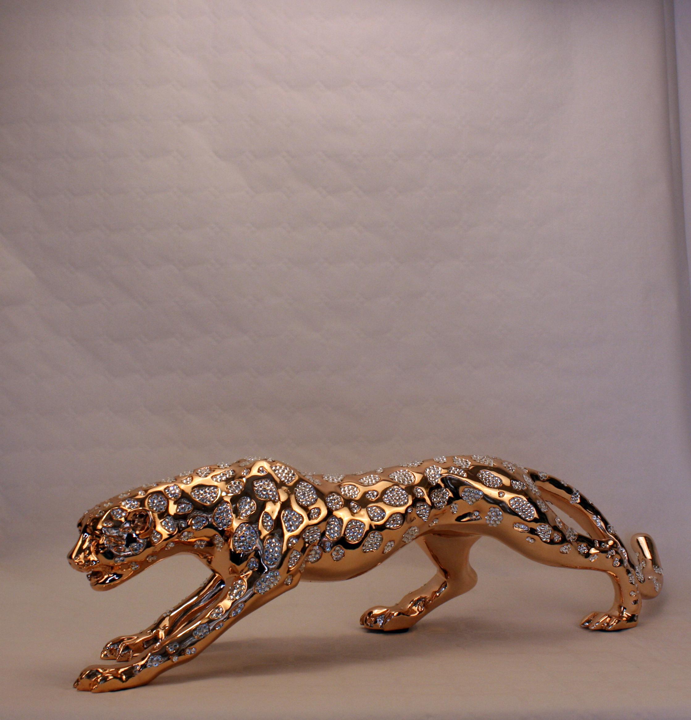Leopard - Guld med diamanter - Stor - 1