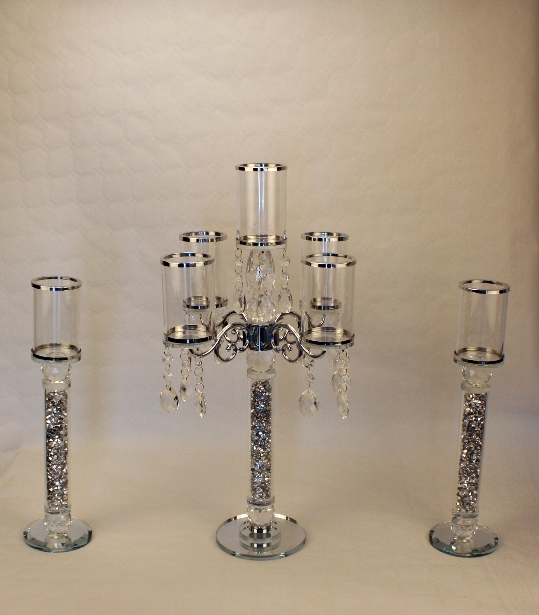 Lysestager sæt - 3 del - Sølv