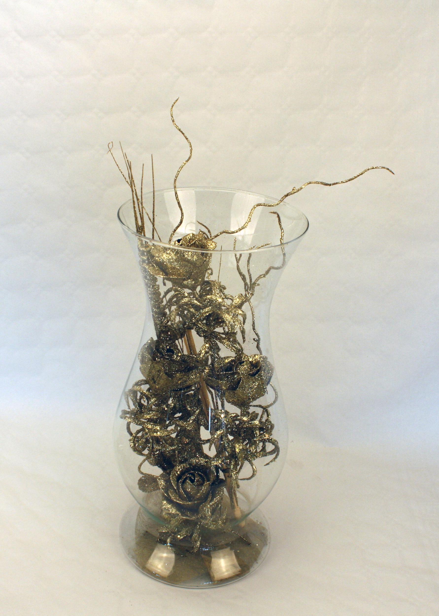 Vase med blomster - Guld